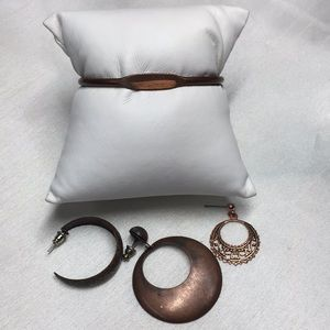 Vintage Copper Cuff and misc Earrings